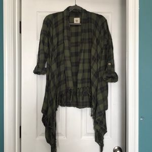 Army green/black plaid Flannel w/ Fringe